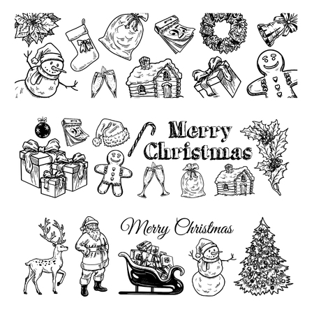 advent wreath: Holly jolly Merry Christmas vector set of hand drawn icons Happy new year Illustration
