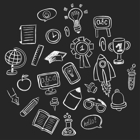 globus: School and education vector hand drawn pictures