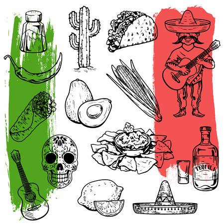 vector images: Mexican cuisine and culture Hand drawn vector images