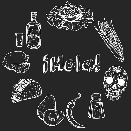 restaraunt: Icons of mexican food and culture Hand drawn images