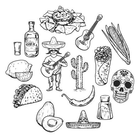 Reizen naar Mexico Voedsel cultuur drank Cuisine Hand getrokken pictogrammen Stock Illustratie