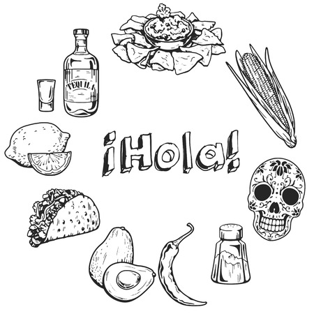 restaraunt: Travel to Mexico Food Culture Drink Cuisine Hand drawn icons