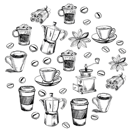 vector images: Vector images of coffee for coffee house, menu, posters Illustration