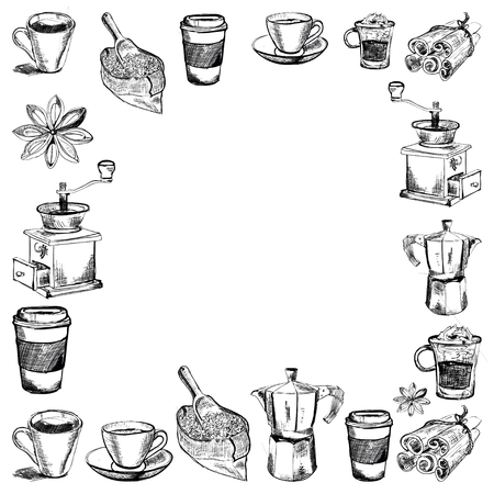 coffee house: Vector images of coffee for coffee house, menu, posters Illustration
