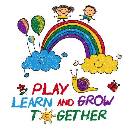 놀이 배우고 함께 성장 손으로 그린 벡터 이미지 일러스트