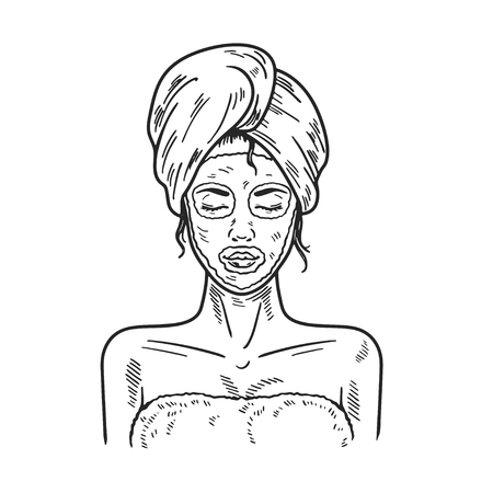 Spa Woman applying Facial clay Mask Beauty salon picture Illustration