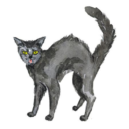 Halloween zwarte kat beeld Hand getekende aquarel