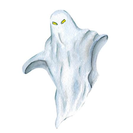La imagen de Halloween del fantasma de la mano icono de la acuarela dibujada Foto de archivo