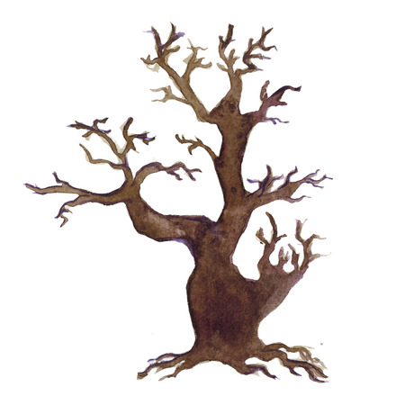 gnarled: Halloween tree For any kind of design Hand drawn image