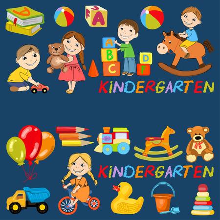 Vector Kindergarten Muster mit Jungen und Mädchen Spiele Hand gezeichnete Bilder spielen