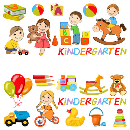 playing games: Vector kindergarten pattern with boys and girls playing games Hand drawn images Illustration