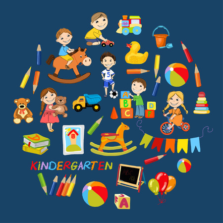 games hand: Vector kindergarten pattern with boys and girls playing games Hand drawn images Illustration