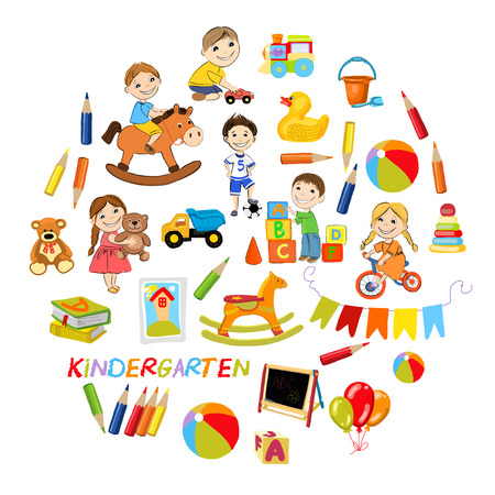 Vector kindergarten pattern with boys and girls playing games Hand drawn images Illustration