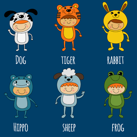 Illustration of cute kids wearing animal costumes Vector image