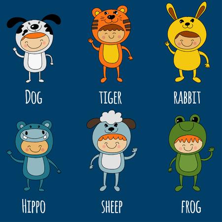 tigre cachorro: Ilustración de niños lindos trajes de animales Vector de imagen que usan