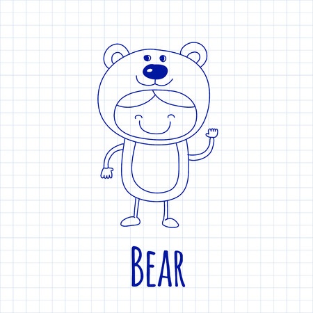 baby bear: Vector image of cute baby wearing bear costume Illustration