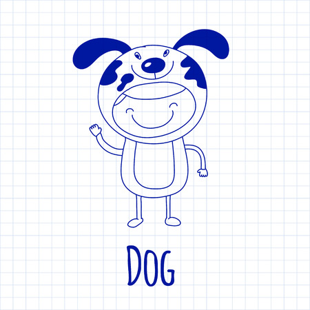 dog in costume: Vector image of cute baby wearing dog costume