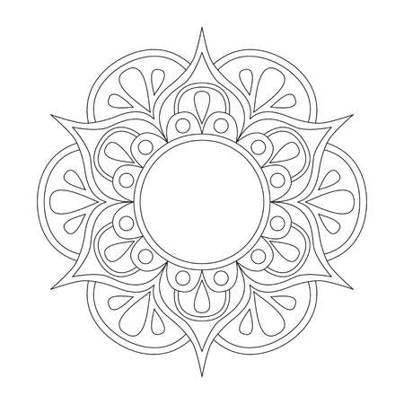 round: Outline Mandala for coloring book. Anti-stress therapy pattern. Decorative round ornament. Vector picture