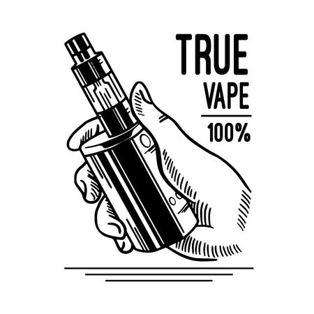 Vape shop and vapor bar, electronic cigarette and electronic liquid, set of vector monochrome labels, badges Çizim
