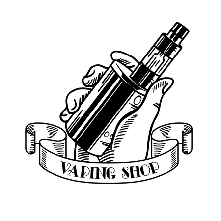 Vape shop and vapor bar, electronic cigarette and electronic liquid, set of vector monochrome labels, badges  イラスト・ベクター素材