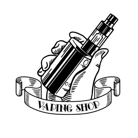 Vape tienda y el bar de vapor, líquido de cigarrillo electrónico y electrónica, conjunto de etiquetas de vectores en blanco y negro, insignias Foto de archivo - 64546796