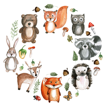 woodland: Cute woodland animals Watercolor animal icons Stock Photo