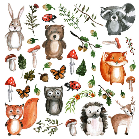 Cute woodland animals Watercolor animal icons Stockfoto