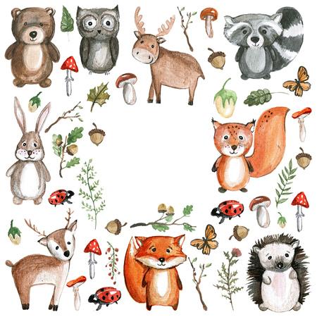 귀여운 숲 동물 수채화 동물 아이콘 스톡 콘텐츠
