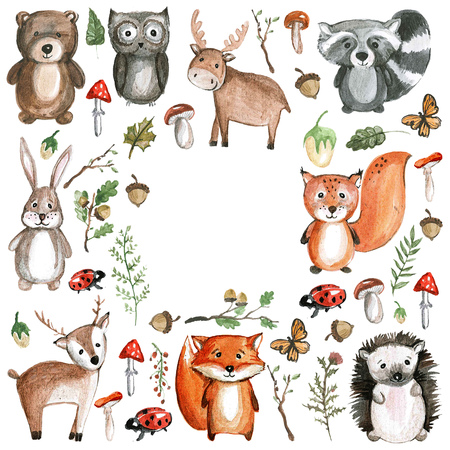 Cute woodland animals Watercolor animal icons Stok Fotoğraf