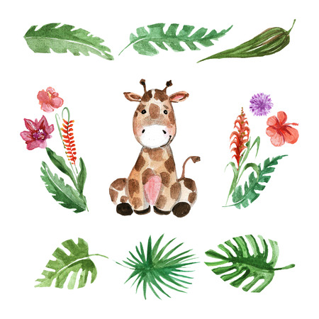 Cute baby giraffe Animal for kindergarten, nursery, children clothing, kids pattern, invitation, baby shower Stock Photo