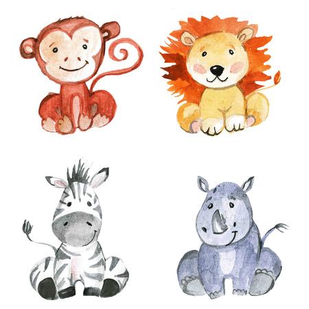 Schattige baby dieren voor de kleuterschool, kinderdagverblijf, kinderen kleding, kinderen patroon, uitnodiging, baby shower Stockfoto - 67279860