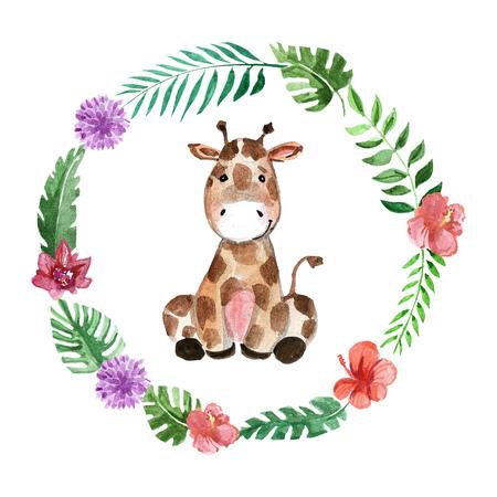 Cute baby giraffe Animal for kindergarten, nursery, children clothing, kids pattern, invitation, baby shower 版權商用圖片