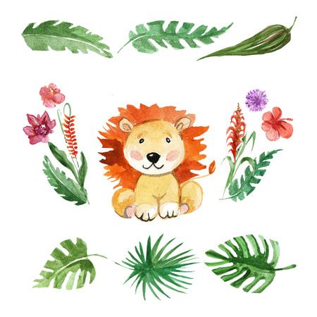幼稚園、保育園、子供服、かわいいライオン動物赤ちゃんパターン 写真素材