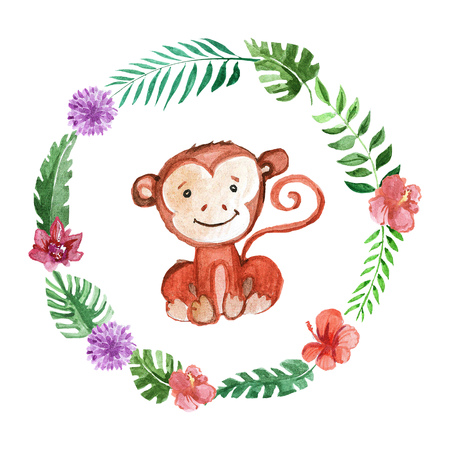 Cute baby monkey Animal for kindergarten, nursery, children clothing, kids pattern, invitation, baby shower