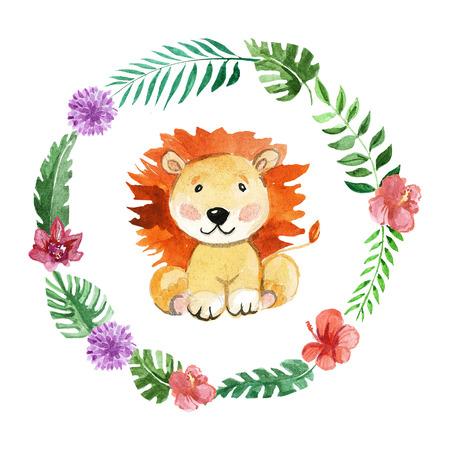 귀여운 사자 유치원, 보육원, 아동 의류, 아기 패턴, 베이비 샤워 동물