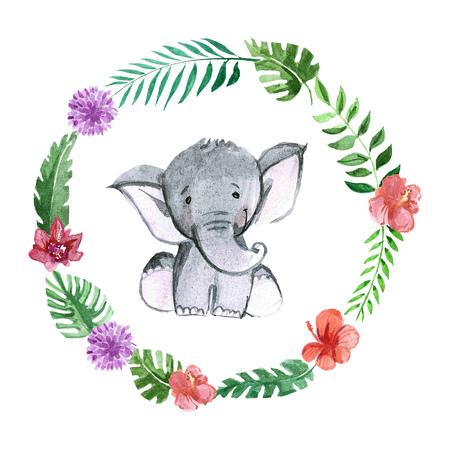 유치원, 보육, 아동 의류, 아이 패턴, 초대장, 베이비 샤워 귀여운 아기 코끼리 동물