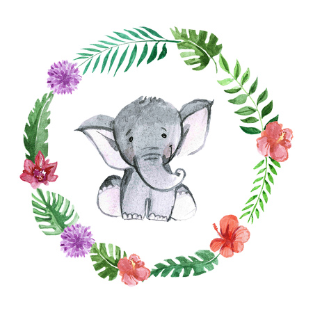 Cute baby elephant animal for kindergarten, nursery, children clothing, kids pattern, invitation, baby shower