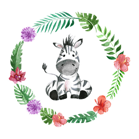 Cute baby zebra Animal for kindergarten, nursery, children clothing, kids pattern, invitation, baby shower
