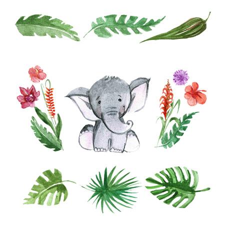 preschool child: Cute baby elephant for kindergarten, nursery, children clothing, kids pattern, invitation, baby shower Stock Photo