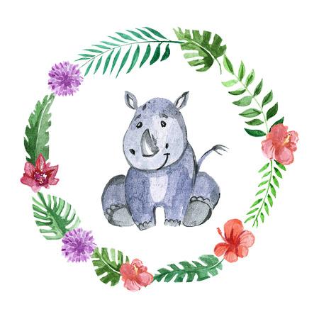 Cute baby rhino Animal for kindergarten, nursery, children clothing, kids pattern, invitation, baby shower