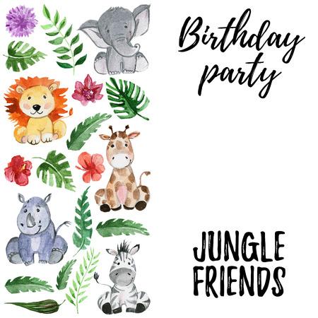 Watercolor jungle friends Hand drawn animals