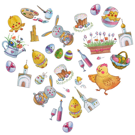 Easter watercolor pattern Egg, chicken, rabbit Hand drawn image