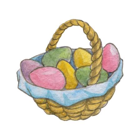 easter eggs basket: Easter eggs Basket with easter eggs Watercolor picture