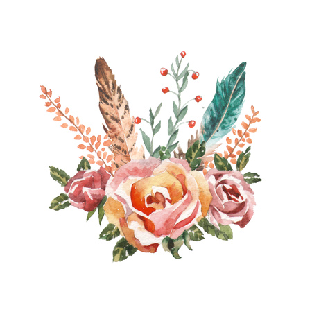 Watercolor vintage floral bouquets. Boho spring flowers and feathers isolated on white background. Hand painted images