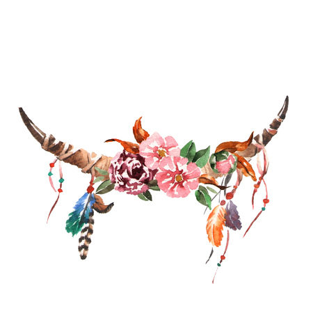 Watercolor vintage floral bouquets with animal horns. Boho spring flowers and feathers isolated on white background. Hand painted images