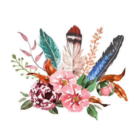 수채화 빈티지 꽃 부케. 보헤미안의 봄 꽃과 깃털은 흰색 배경에 고립입니다. 손으로 그린 이미지