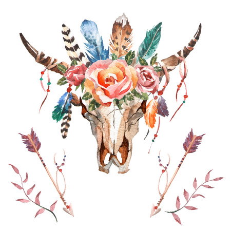 수채화 흰색 배경에 꽃과 깃털 황소의 머리입니다. 보헤미안 스타일. 포장, 벽지, 티셔츠, 섬유, 포스터, 카드, 인쇄에 해골 손으로 그린 이미지