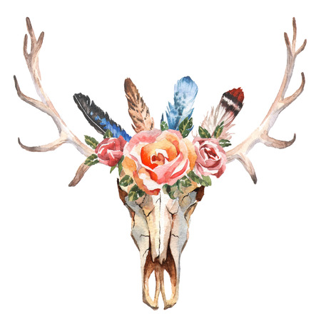 Watercolor isolated deers head with flowers and feathers on white background. Boho style. Skull for wrapping, wallpaper, t-shirts, textile, posters, cards, prints Hand drawn image