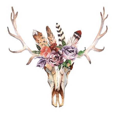 꽃과 흰색 배경에 깃털 사슴의 머리를 격리 수채화. Boho 스타일. 포장, 벽지, 티셔츠, 섬유, 포스터, 카드, 지문에 대한 해골 손으로 그린 이미지