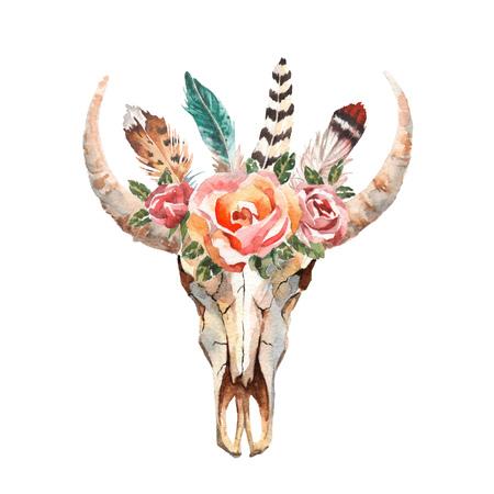 水彩の孤立した牛の頭花と白い背景の上の羽。自由奔放に生きるスタイル。折り返し、壁紙、t シャツ、繊維、ポスター、カードのスカル プリント